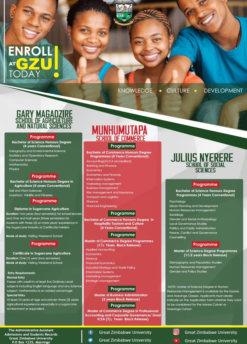 [object object] Great Zimbabwe University Homepage enrol gzu