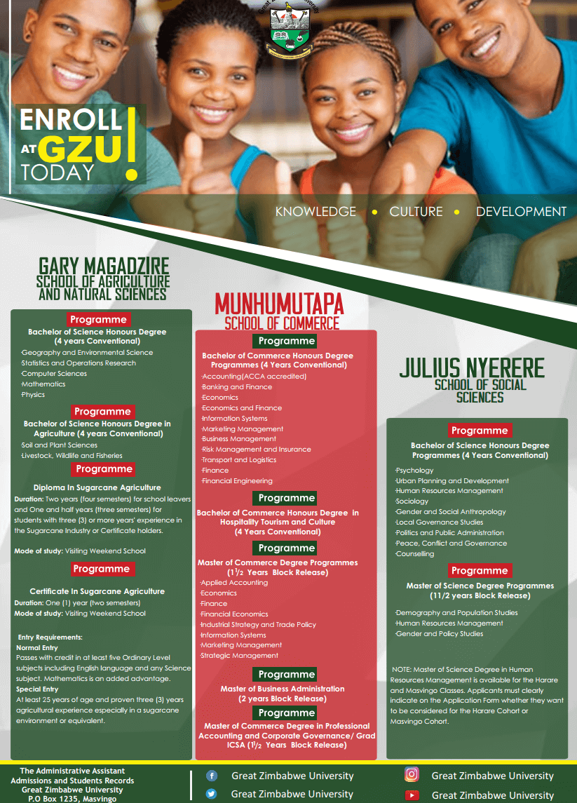[object object] Great Zimbabwe University Homepage enrol gzu