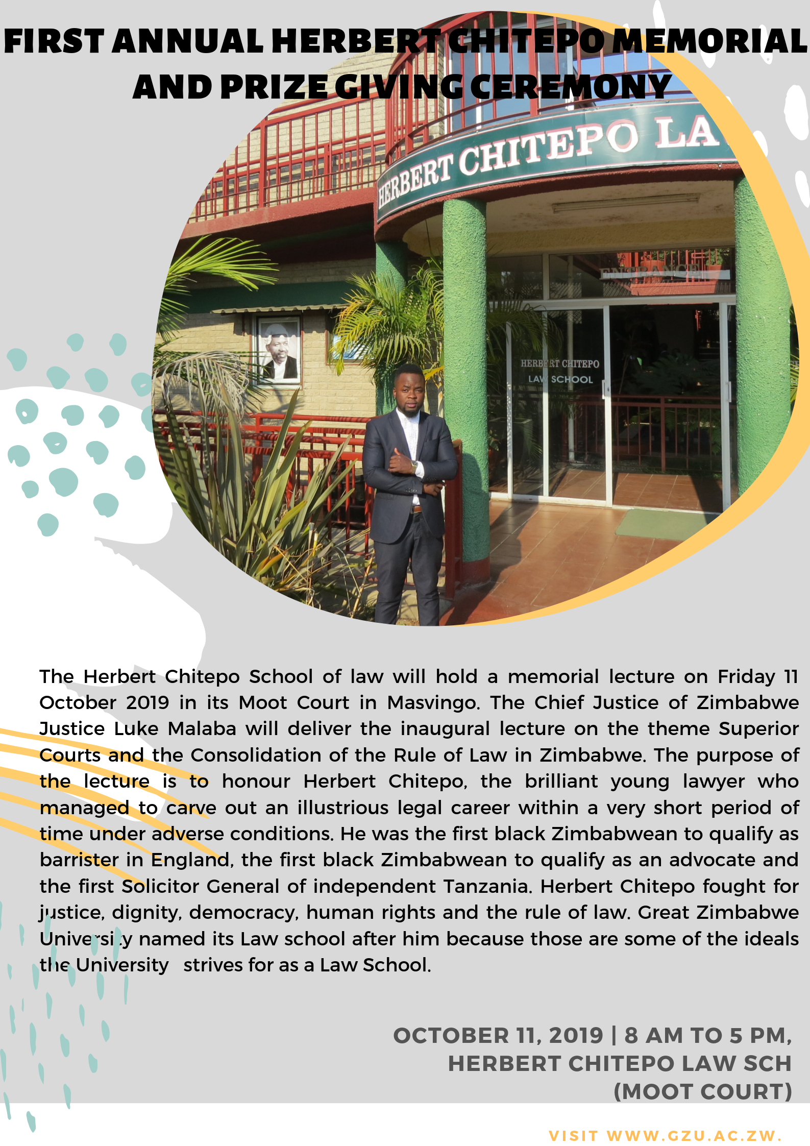 The First Annual Herbert Chitepo Memorial Lecture Modern Illustrated Education Poster
