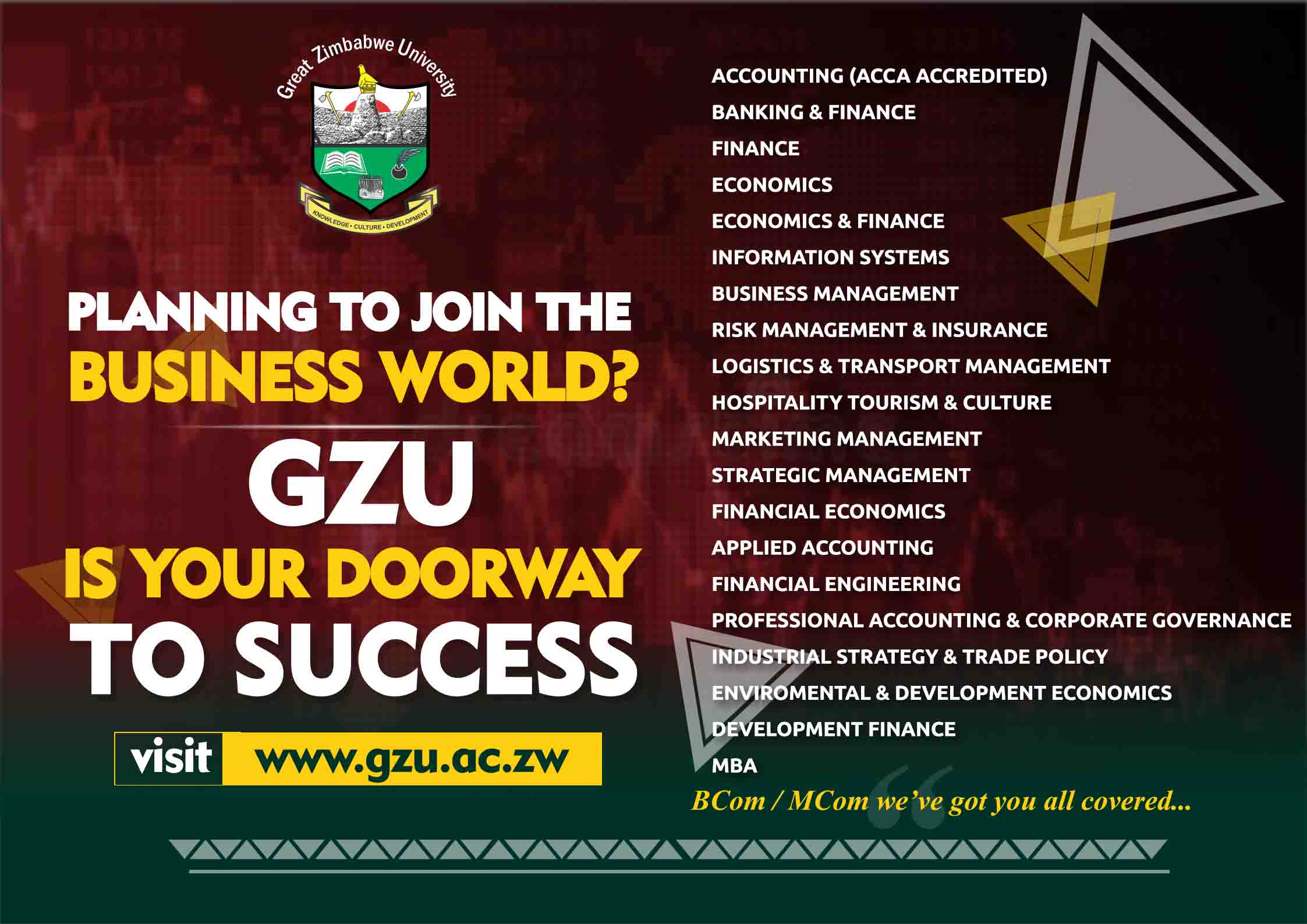 undergraduate Great Zimbabwe University Homepage COMMERCE